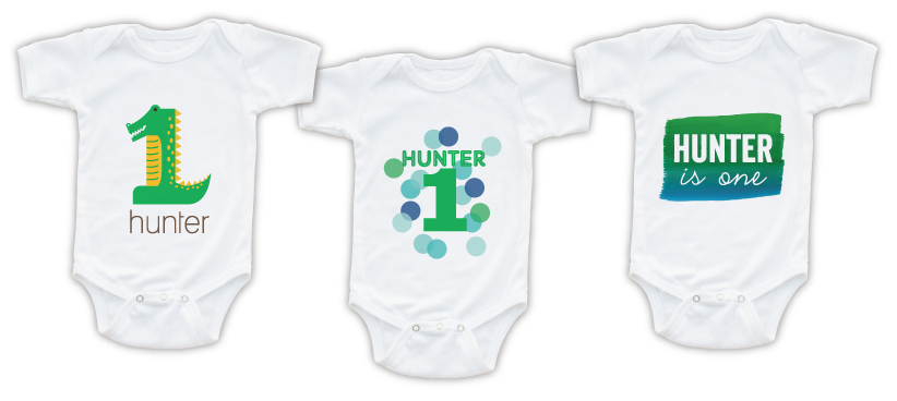 d2f2a7db1 Growing Gator, Happy Confetti, and Watercolor Fun 1 Birthday Onesies Which  of these baby keepsakes would you choose for your Hunter?