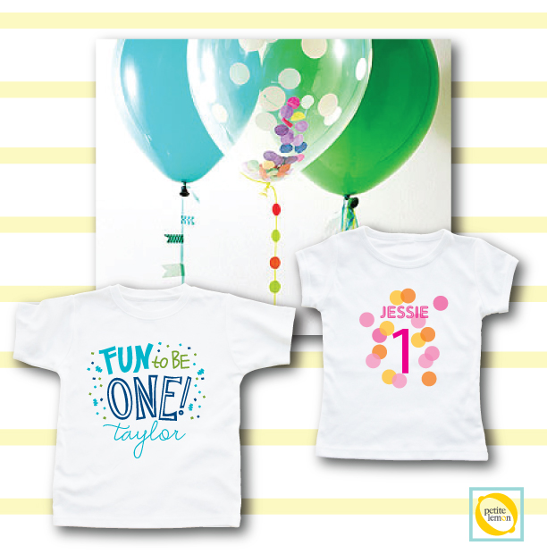 Parents Magazine recently offered some super balloon décor ideas and we paired them with our 1st birthday shirts, which can be worn at the party or given as personalized baby gifts.   http://www.petitelemon.com/blog/2014/06/05/balloon-party-ideas/