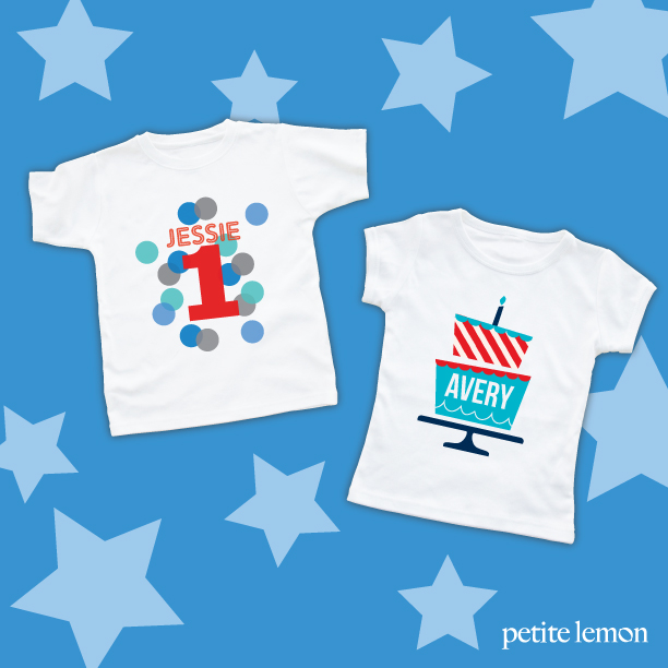 Personalized tees in red, white, and blue for 4th of July!  Order before June 24 to receive them by the Fourth! | Petite Lemon
